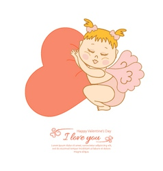 Postcard Valentine is Day with Cupid vector image