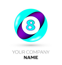 Realistic number eight in colorful circle vector