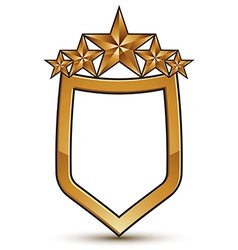 Renown emblem with five golden stars 3d festive vector