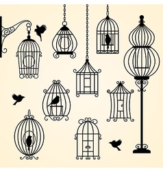 Set of vintage bird cages vector