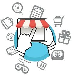 Shopping via internet connection vector