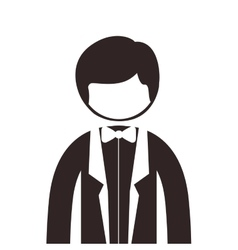 Silhouette half body man suit with bowtie vector