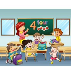 Teacher and students in classroom vector