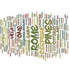 The pines of rome text background word cloud vector