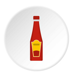 Traditional tomato ketchup bottle icon circle vector