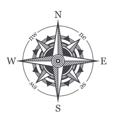 Wind rose or compass icon on white background vector