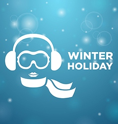 Winter holiday and icon women on blue background vector