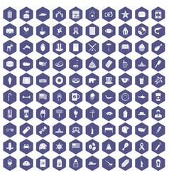 100 usa icons hexagon purple vector