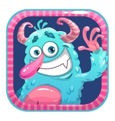 App icon with blue fluffy funny monster vector