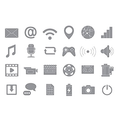 Multimedia gray icons set vector