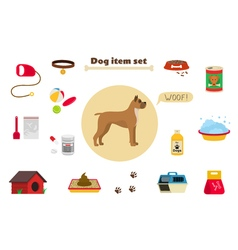 Dog items set care object and stuff elements vector