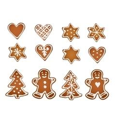 Set of gingerbread cookies decorative gingerbread vector