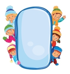Poster with young children in warm clothes vector