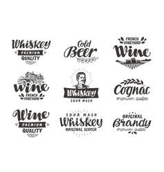 Menu alcoholic drinks labels wine beer vector image