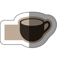 Sticker monochrome emblem with coffee cup vector