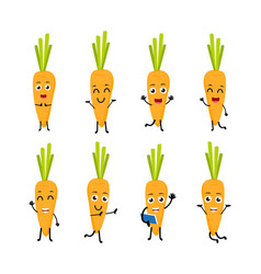happy carrot cartoon character vector image