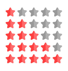 5 star rating set simple rounded shapes in grey vector