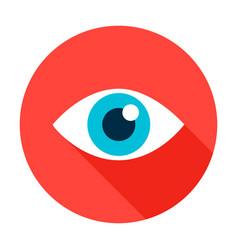 Eye flat circle icon vector