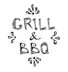 bbq and grill decorative meat lettering realistic vector image