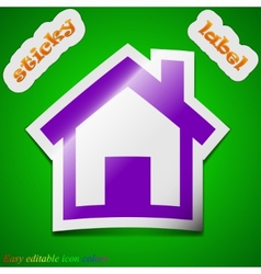 Home icon sign symbol chic colored sticky label on vector