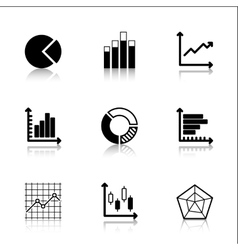 Diagram icons set with reflection vector
