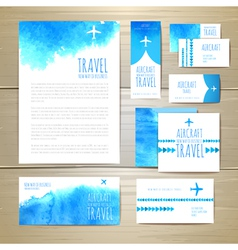 Airplane watercolor artistic document template vector