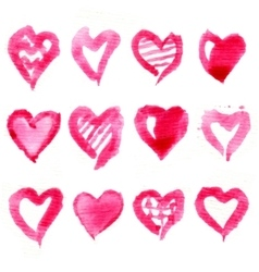 Big set of pink watercolor hearts vector