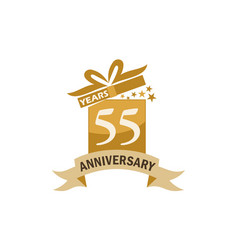 55 years gift box ribbon anniversary vector image