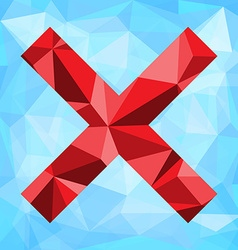 Polygonal background with x symbol vector