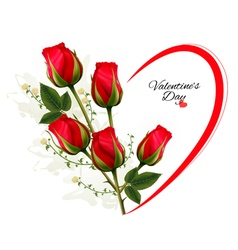 Valentines day background with a bouquet of red vector