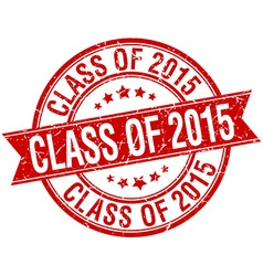 Class of 2015 grunge retro red isolated ribbon vector