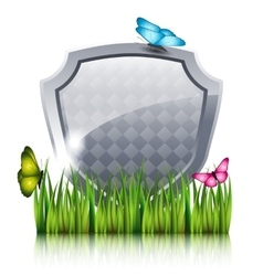 Gray shield with flying butterflies by the grass vector