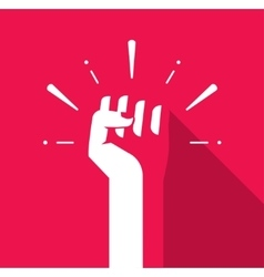 Fist hand up icon revolution logo freedom vector image