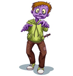 A scary zombie with a knife vector