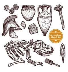 Archeology Hand Drawn Sketch Set vector image