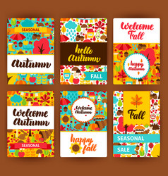 autumn label set vector image vector image