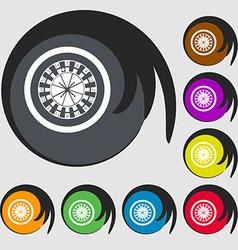 Casino roulette wheel icon symbols on eight vector