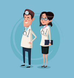 Color background male and female team surgeons vector