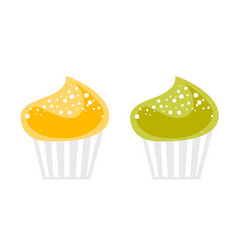 colorful cupcakes cartoon vector image vector image