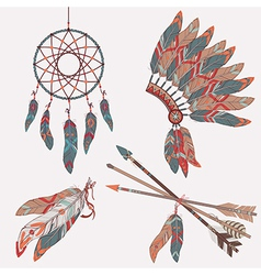 colorful ethnic set with dream catcher feathers vector image vector image