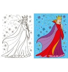 Colouring book of snow queen vector