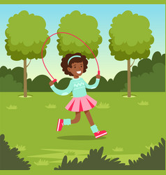 cute smiling african girl jumping with skipping vector image vector image