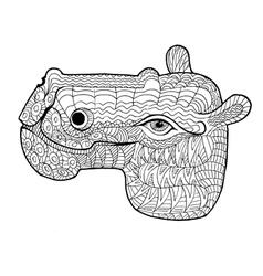 Doodle of hippopotamus vector
