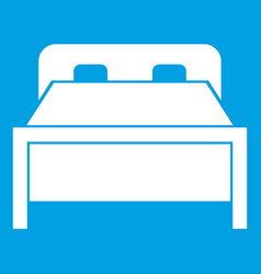 Double bed icon white vector