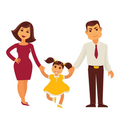 Family mother father and child girl flat vector