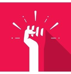 Fist hand up icon revolution logo freedom vector image