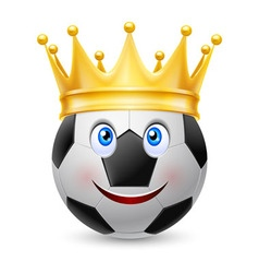 Gold crown on soccer ball vector