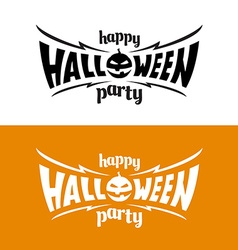 Happy hallowen party title logo template bat wings vector