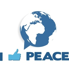 i like peace globe as speech bubble vector image vector image