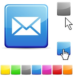 Mail glossy button vector